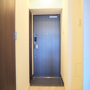 ウッド調のドアが優しい印象ですね※写真は10階の同間取り別部屋のものです