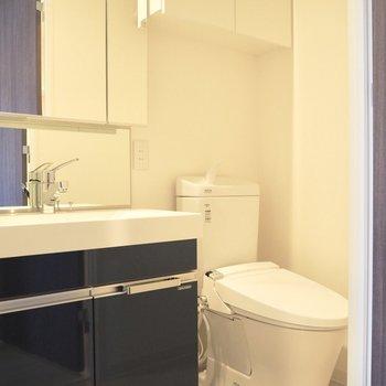 洗面台はキッチンと同じステキな色です※写真は10階の同間取り別部屋のものです