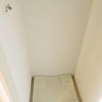 玄関横には洗濯機置き場が※写真は8階の同間取り別部屋のものです