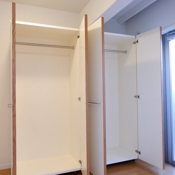 可動式の収納が2つあります。置き方によっては寝室をしっかり区切れそう。