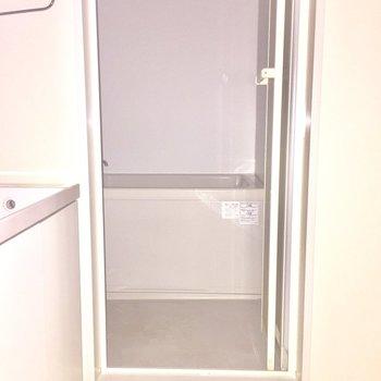脱衣所は狭めです※写真は通電前のものです。フラッシュを使用しています