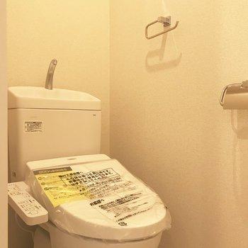 個室トイレ。新品に交換済みです。