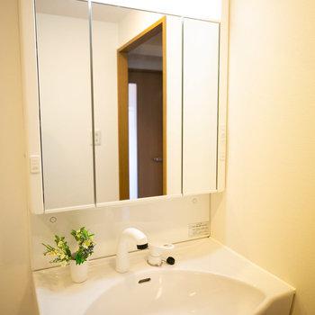 洗面台は鏡が大きくていいですね。