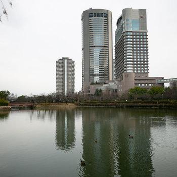 桜ノ宮駅近くには、「大阪ふれあいの水辺」。大阪城や、帝国ホテルも見えますね。