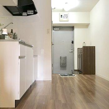 こちらがDK。左手前に冷蔵庫を置けます。(※写真の小物は見本です)