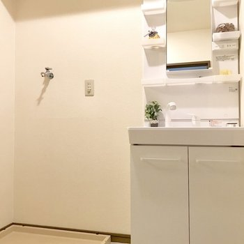 脱衣所に洗濯機を置けます。(※写真の小物は見本です)