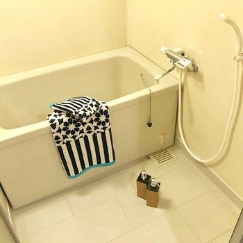 シンプルでコンパクトなバスルーム。シャンプーボトルにこだわりたいね。(※写真の小物は見本です)