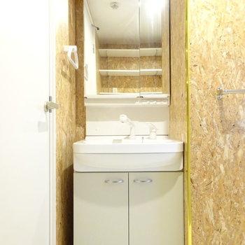 洗面所の壁にひとクセあり