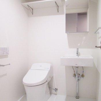 洗面台とトイレは一緒です。上には棚も。