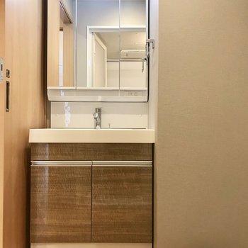 右側のトビラをあけて、、。洗面台広いなあ ※写真は3階の同間取り別部屋のものです