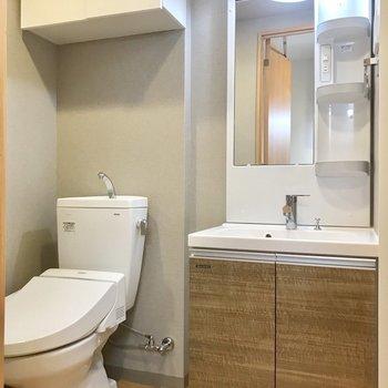 サニタリー。トイレは脱衣所に。 ※写真は3階の同間取り別部屋のものです