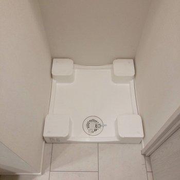 洗濯機は洗面台の横。※写真は2階の同間取り別部屋のものです