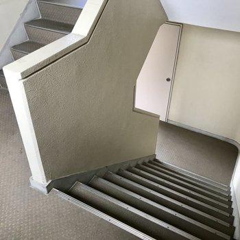 階段を登って3階まで!このタイプの階段だからきつく感じないの。