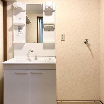 洗面台はどっしり!さりげなく上には棚が。お子様にもいたずらされないですね。(※写真は3階の反転間取り角部屋、補修前のものです)