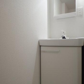 洗面台はスタイリッシュで少し小さめ。