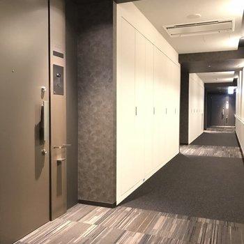 玄関t扉と共用部