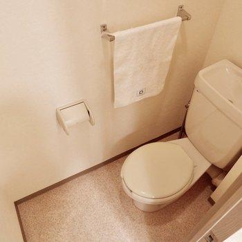 トイレは個室、リラックスできますね。※家具・雑貨はサンプルです