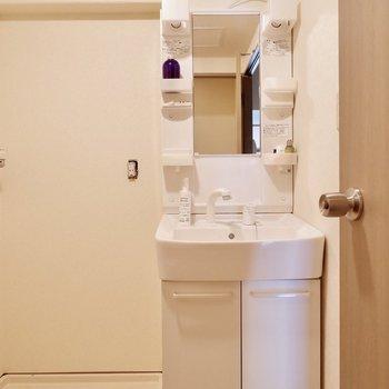 洗面台の横に洗濯機置き場。※家具・雑貨はサンプルです