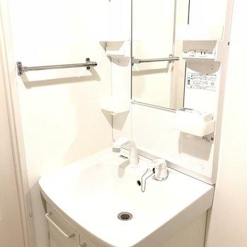 洗面台はシンプルです。(※写真は1階の反転間取り別部屋のものです)