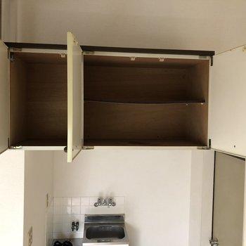 玄関、キッチン上の収納。靴箱にも使えます。※写真は通電前、前回募集時のものです