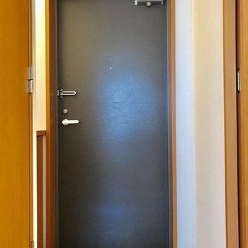 玄関扉はシックな感じ。