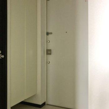 フラットな玄関です。※フラッシュを使って撮影しています