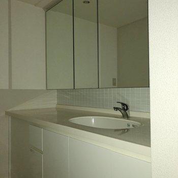 長〜い洗面台!鏡の部分は全て収納です!※フラッシュを使って撮影しています