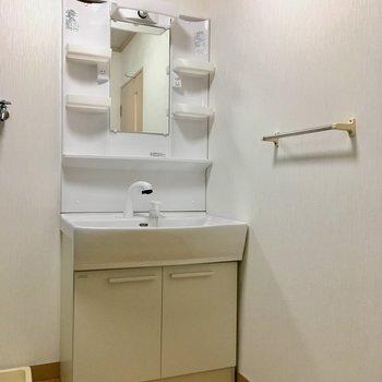 洗面台はファミリーサイズ!横にはタオル掛けが付いています。
