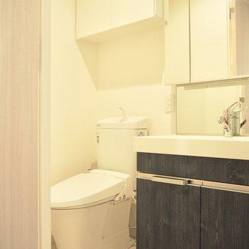 洗面台はキッチンと同じ色※写真は3階反転間取り別部屋のものです
