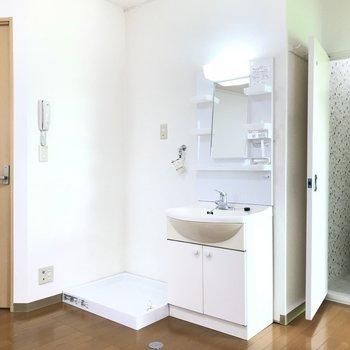 室内洗濯機置場と独立洗面台の配置