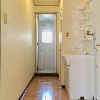 手前から洗濯機置場・洗面台・トイレ・お風呂!水回りは1つになっています。