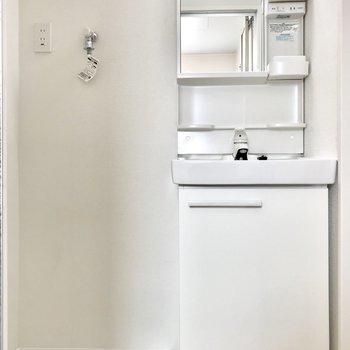 お向かいにサニタリー。洗面台はコンパクトに。