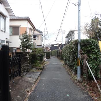 入り組んだ住宅街の道をゆく