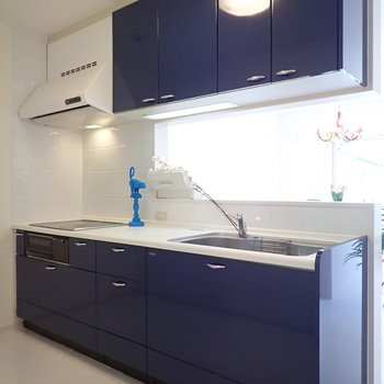 【LDK】キッチンの収納力、かなり高いです。※家具はサンプルです