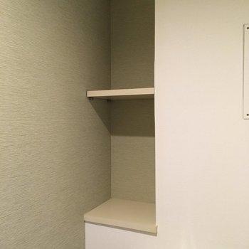トイレには収納棚も付いてますね。(※写真は2階反転間取り別部屋のものです)