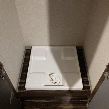 洗濯機置場はドアで隠せます。