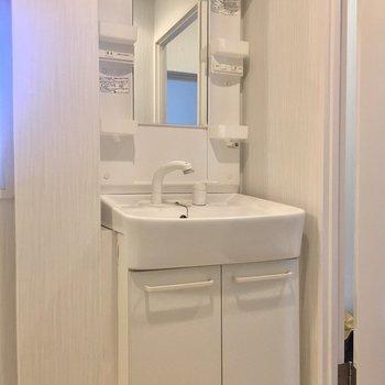 洗面台はスリムでした。(※写真は改装中です)