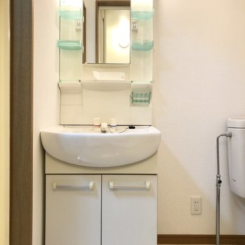 洗面所。ポケット収納が充実した洗面台。