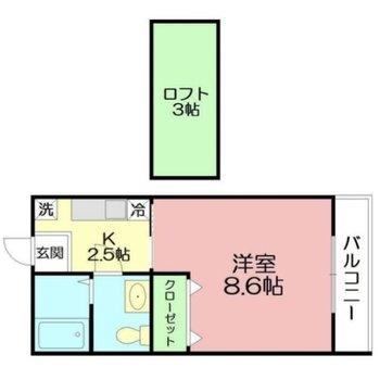 居室とキッチンは扉で分かれています。