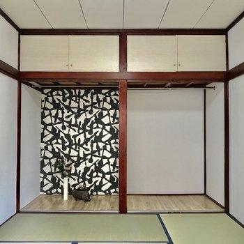 【和室】こちら一面収納です。見せる収納を心がけましょう※家具はサンプルになります