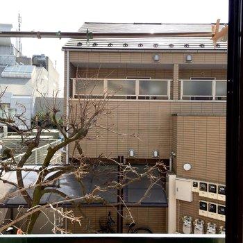 窓から見えるのは目の前の建物です