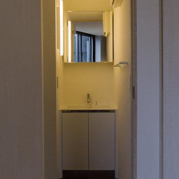 洗面台、清潔感あります。鏡を開くと収納として使用可能。