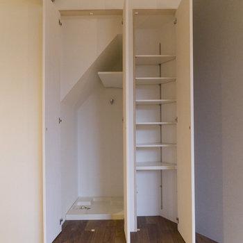 可動式棚&洗濯機置場。右は靴箱として使うのが良さそう。