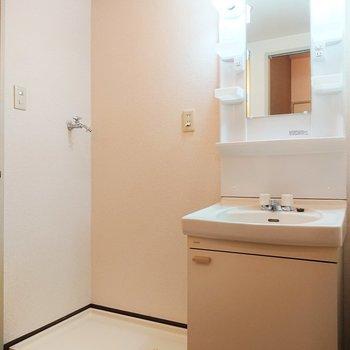 洗面台に棚が多く、使い勝手がいいですね。