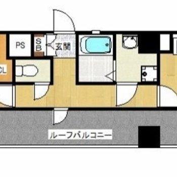 横にながーい1DKのお部屋です。