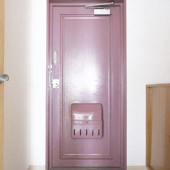 紫芋みたいな玄関、でもおしゃれと感じてしまう。