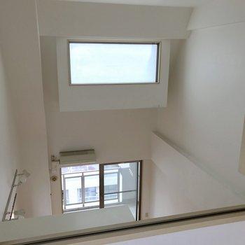 2階からの眺め。大きなすりガラスがあるから日中は自然な明るさ♬
