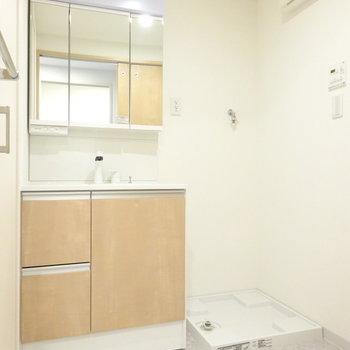 ゆったり洗面スペース。鏡広くて嬉しい!