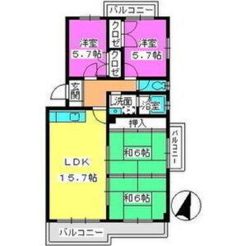 和室付きの4LDK。家族で広々住めます。
