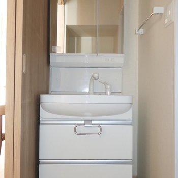洗面も大きくて使いやすさ◎※写真は2階の同間取り別部屋のものです
